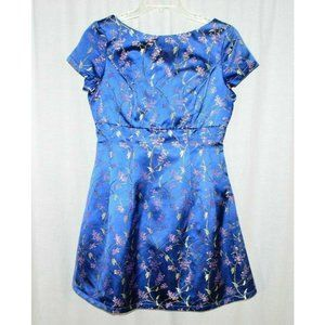 Chi Chi London Blue Embroidered Floral Oriental Ca